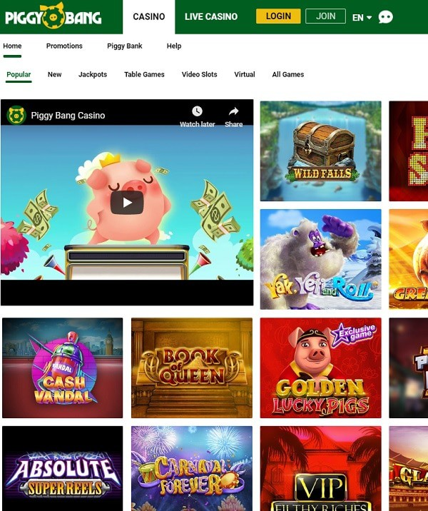 Piggy Bang Online Casino Review