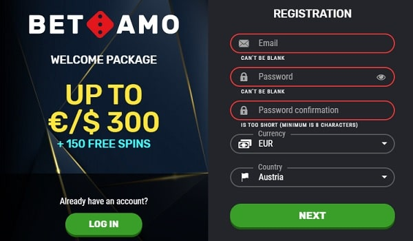 Sign up with Betamo Casino!