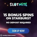 SLOTNITE Casino - 15 no deposit free spins (exclusive bonus)