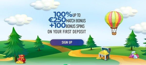 100% bonus and 100 free spins on 1st deposit