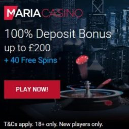 Maria Casino | 40 free spins + 100% bonus + €200 gratis | review