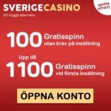 SverigeCasino 1200 free spins and no deposit bonus - Sweden