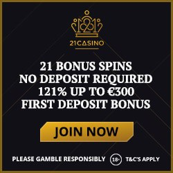 21Casino.com 21 free spins on Book of Dead (no deposit bonus)