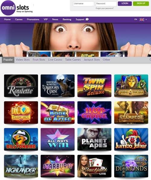 Omni Slots Casino free spins bonus