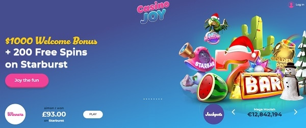 Casino Joy 200 free spins and $1000 welcome bonus