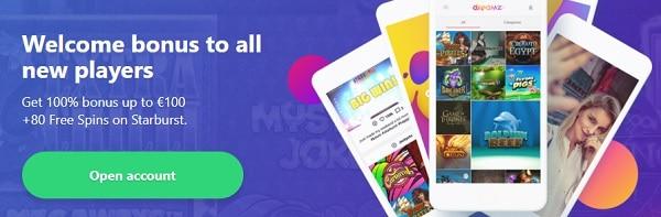 Dreamz.com 80 free spins bonus and 20 no deposit gratis spins + 100% welcome bonus