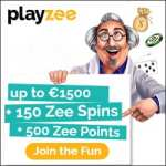Playzee Casino free bonus: €1500 gratis and 150 Zee Spins
