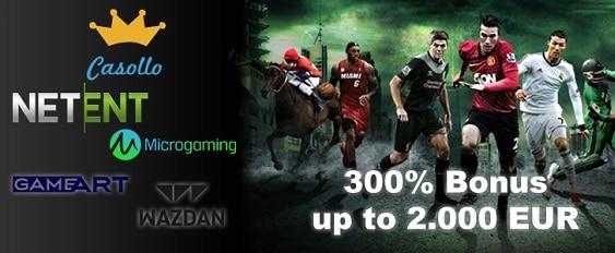 Casollo.com Casino 2000 EUR welcome bonus