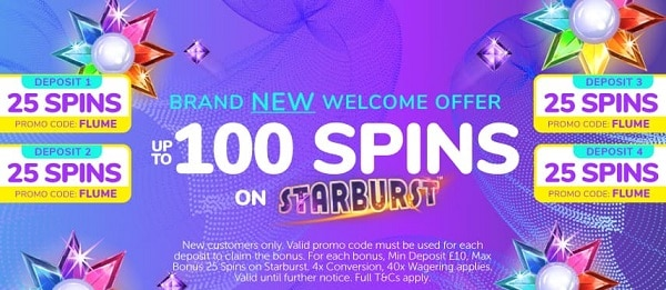 Flume Casino 100 free spins no wager bonus for new players