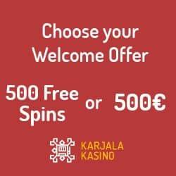 Karjala Kasino 100 free spins no deposit bonus for new players