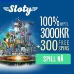 Sloty.com Casino (Sverige) 100% upp till 3 000 kr välkomstbonus