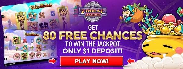 Zodiac Casino 80 gratis spins on Mega Moolah