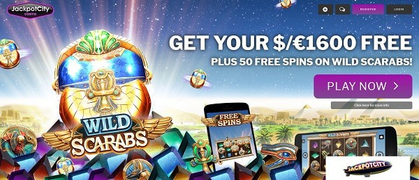 50 Free Spins on Wild Scarabs by Microgaming