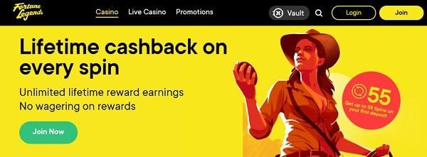 Fortune Legends free spins, cashback, VAULT promotion