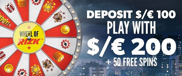 100% or 200% welcome bonus to Rizk + 50 free spins gratis