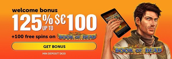 125% up to 100 EUR/USD and 100 free spins welcome bonus