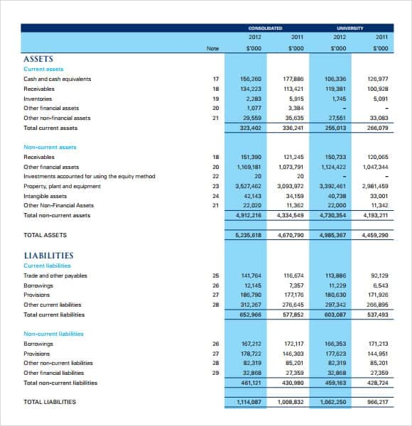 financial statement templates free