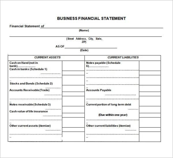 Template Financial Statement  Free Financial Statement Templates