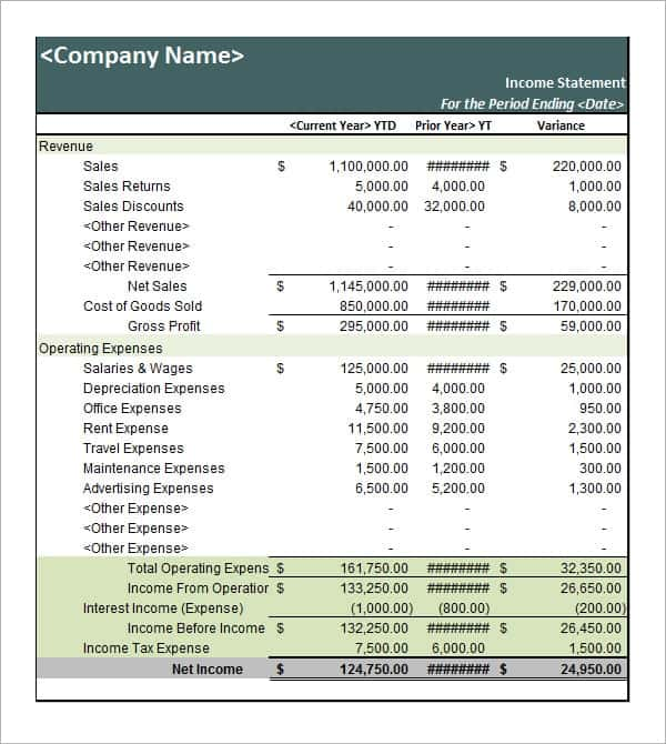 business statement template