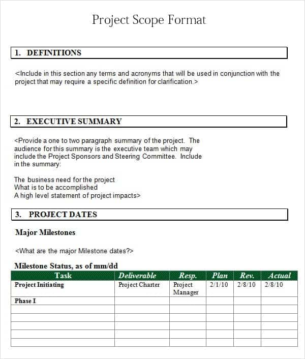Free Project Scope Statement Templates  Word Excel Sheet Pdf