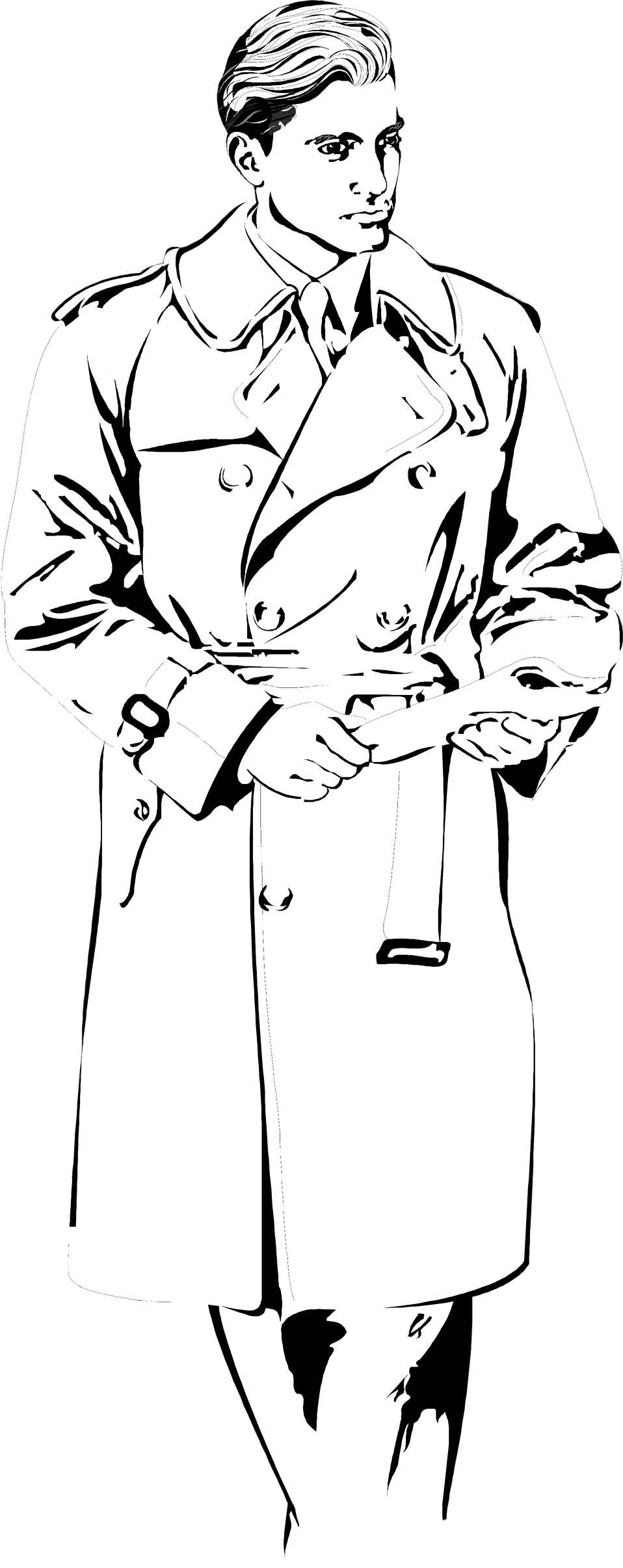 Illustration of a handsome man in a rain coat.