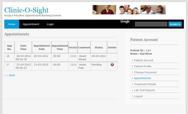 Online Clinic Appointment System - Free Student Projects