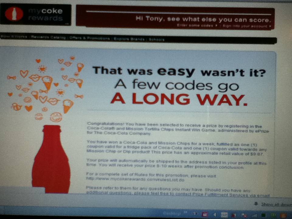 My Coke Rewards Coca Cola And Mission Tortilla Chips Instant Win Game Winner Free Stuff Times What I Got