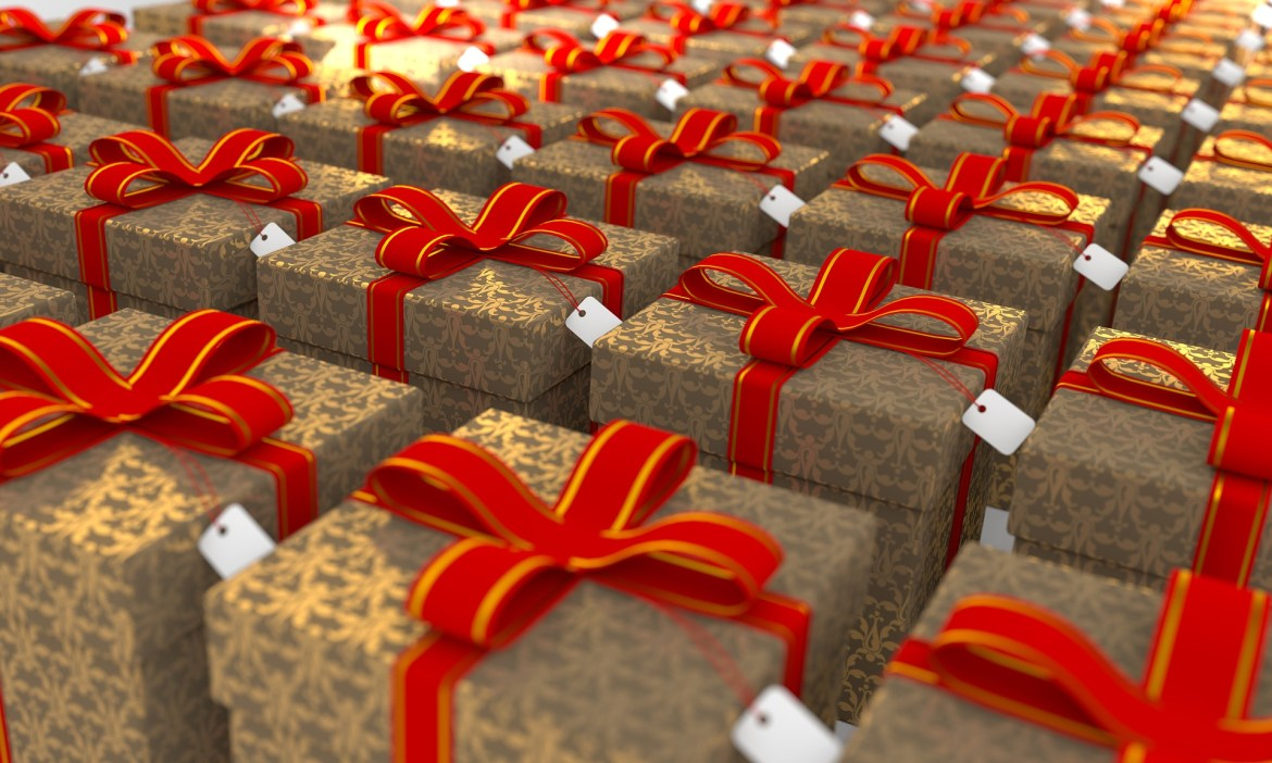 Holiday packages with red bows
