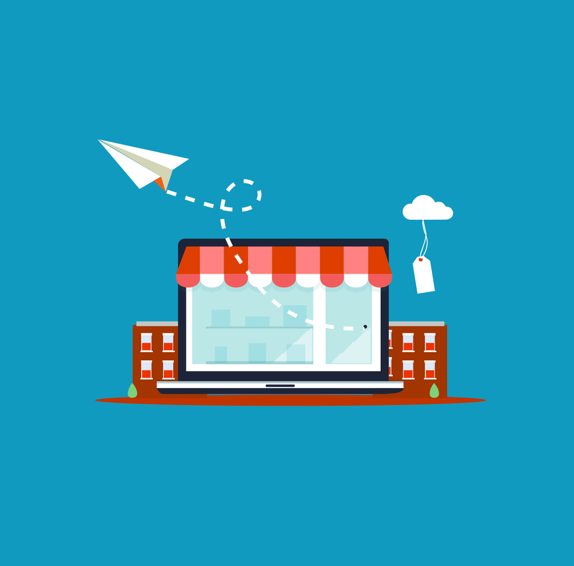 ecommerce store front with paper plane