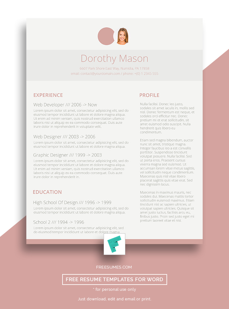 Free Resume Design for the Ladies   Simple in Pink   Freesumes Free Resume Design for the Ladies   Simple in Pink