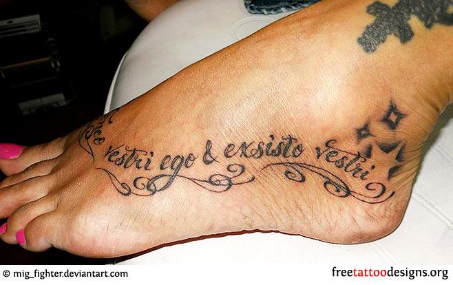 Image of: Girls Latin Quote Tattoo On Foot Free Tattoo Designs Foot Tattoos