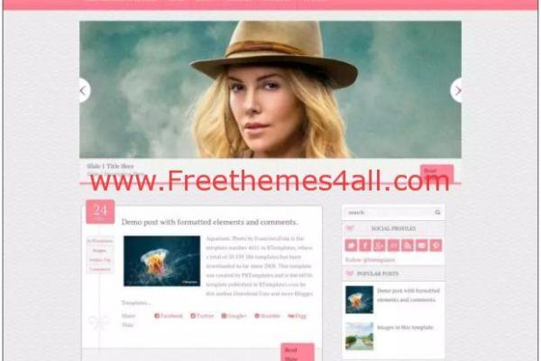Free Responsive Magazine Pink Blogger Template