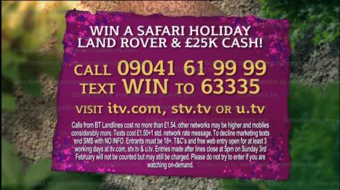 Win a Safari, Landrover and £25,000 cash This Morning Competition Jan 2013