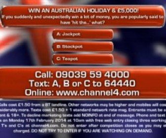 Channel 4 Deal or No Deal competition question - Win an Australian trip & £5000