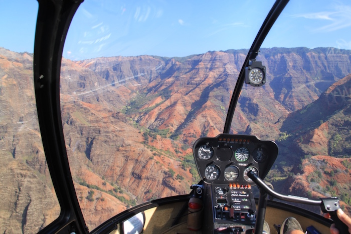 Flying over Waimea Canyon