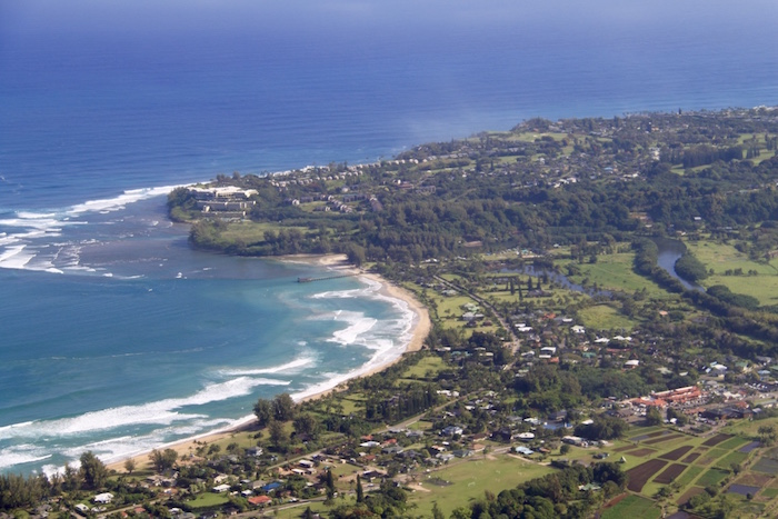 View over Hanalei Bay from the helicopter ride