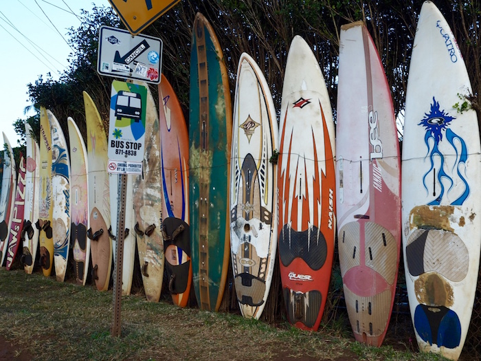 Surfboard fence next to the Kuau Store