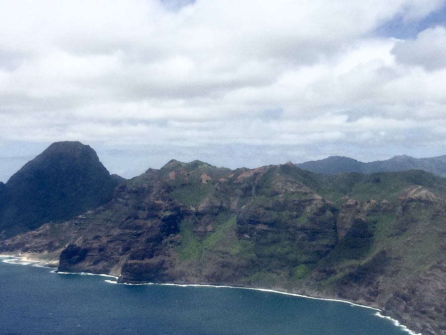 View over South Kauai from the plane