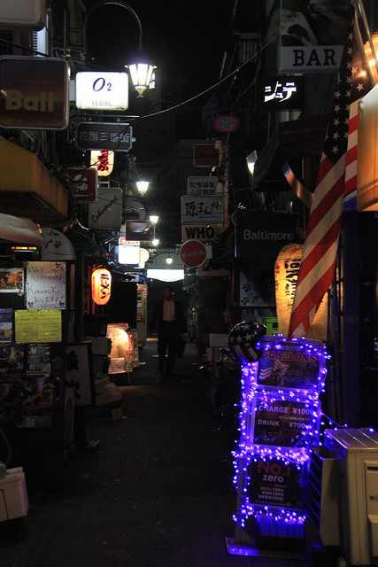 The small streets of the Golden Gai at night