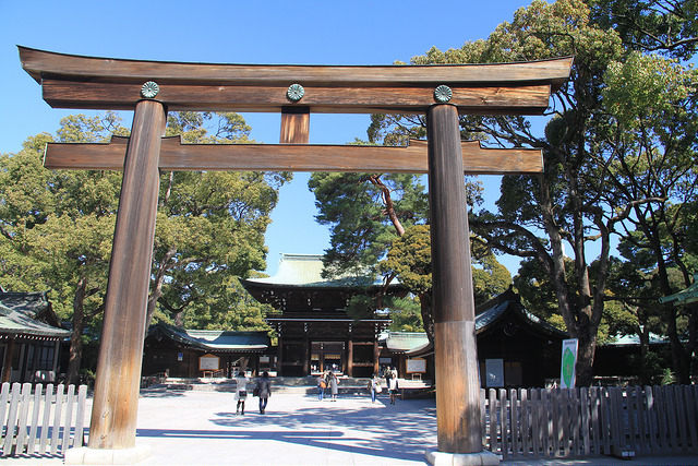 The Torii gate at the entrance of the Meiji Shrine