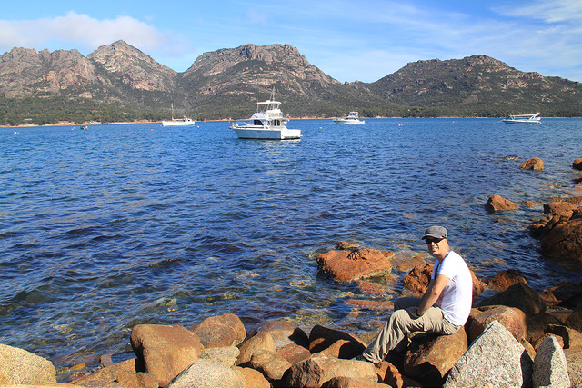 View of the Hazards near Tombolo Freycinet in Coles Bay