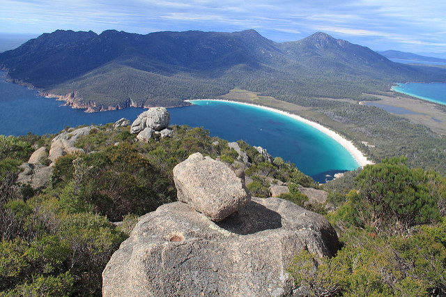 View of Wineglass Bay from Mt Amos