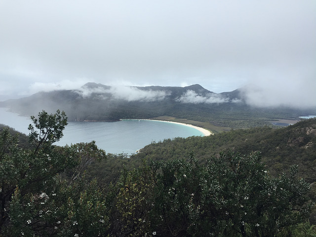 Cloudy view of Wineglass Bay from the lookout