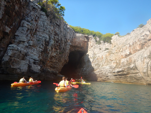 Exploring the caves on our kayaking trip