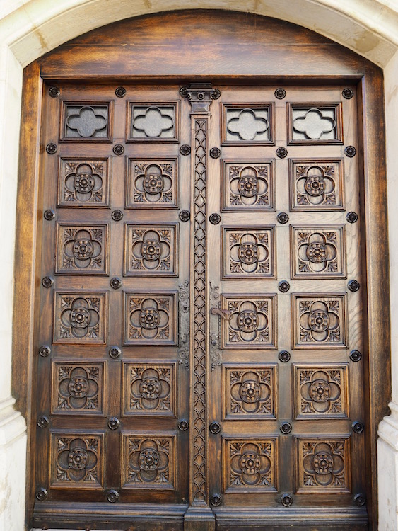 Beautifully carved side door of St Mark's Church