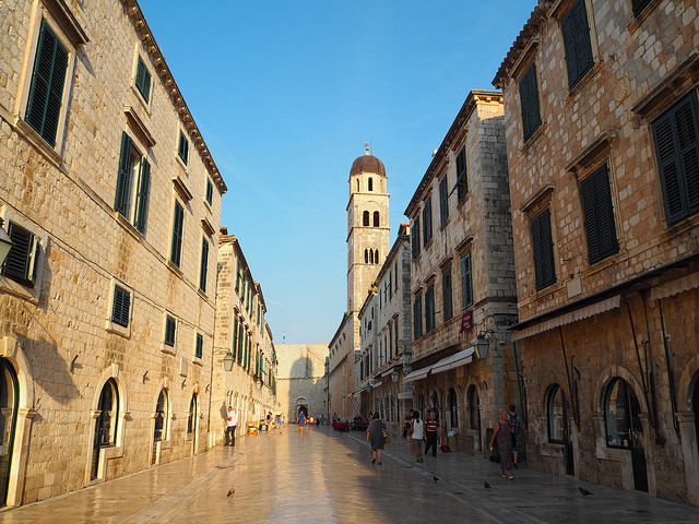 Early morning on the main street Stradun