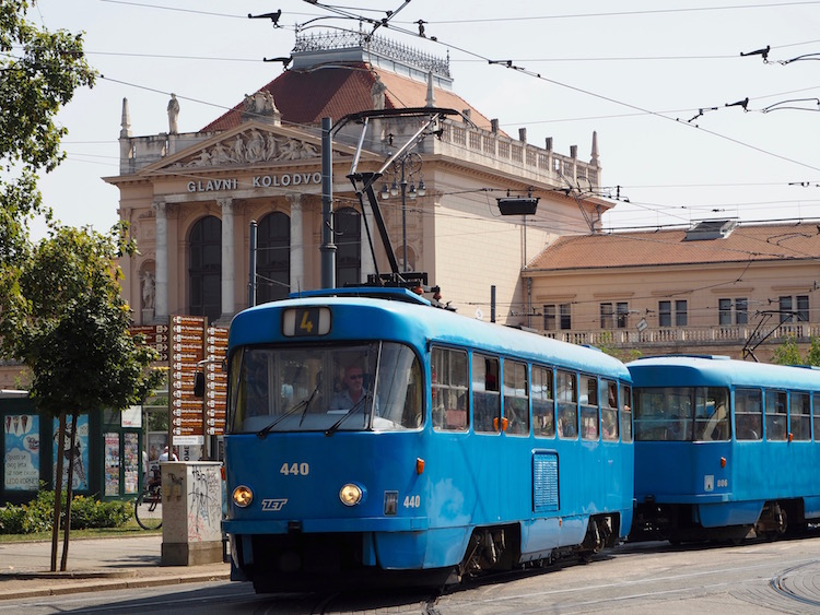 Old tram in front of the main railway station