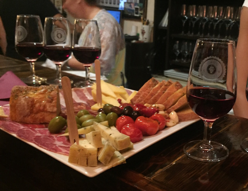 Our wine flight and platter at D'Vino wine bar. Delicious!