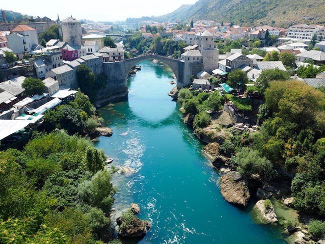 View of Mostar's old bridge from the minaret