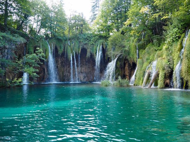 Beautiful waterfalls in the upper lake area